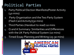 Party Political Election Poster /Leaflet Activity