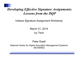Developing Effective Signature Assignments: Lessons from the DQP