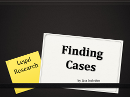 Finding case law - Dr Peter Jepson