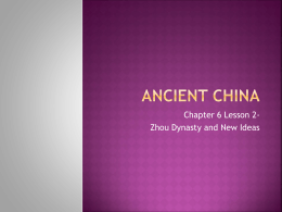 lesson 2- zhou dynasty and new ideas