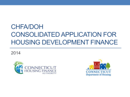CHFA-DOH Consolidated Application Training Presentation