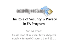 The Role of Security & Privacy in EA Program