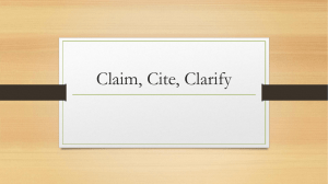 Claim/Cite/Clarify PowerPoint