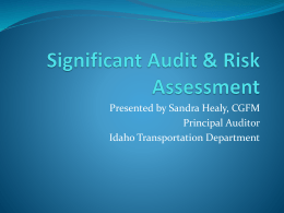 Significant Audit & Risk Assessment