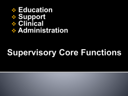 Core Functions of Supervision