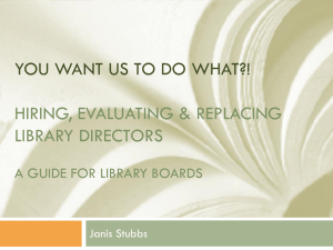 Hiring, Evaluating & Replacing Library Directors
