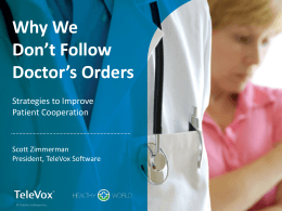 Why We Don`t Follow Doctor`s Orders