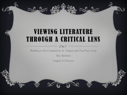 Viewing Literature Through a Critical LENS