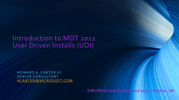 DMVMUG_Session5-User Driven Installations (UDI)
