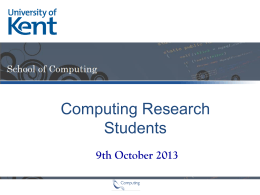 9th October 2013 - School of Computing