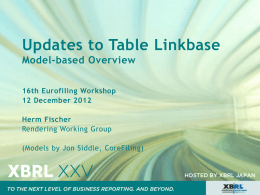 Table Linkbase Updates