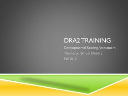 DRA2 Training - TSDCurriculum
