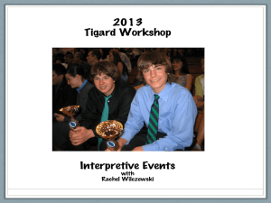 The Interpretive Events Humorous, Dramatic, Duo, Poetry, Prose, ELL