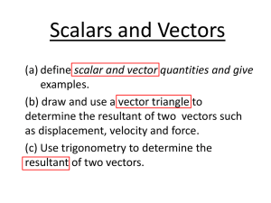Scalars and Vectors - the Redhill Academy