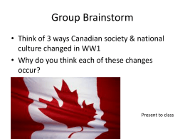 Changes in Canada Due to World War One