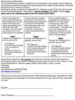 American Revolution Project Info