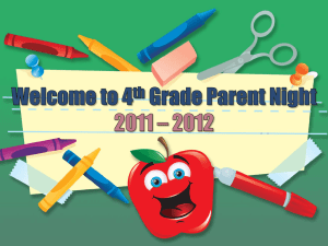 Welcome to 4th Grade Parent Night 2010