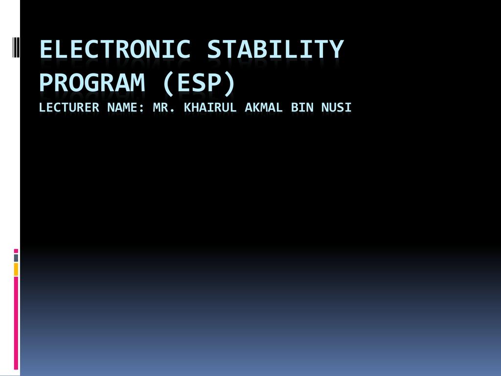 electronic stability program (esp) - ja505