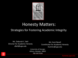 Honesty Matters: - Center for Academic Integrity