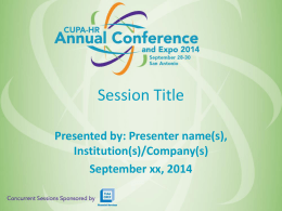 annual conference presentation template - CUPA-HR