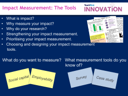 Impact Measurement Tools