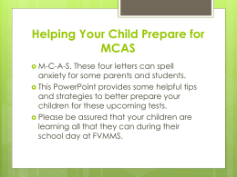 Helping Your Child Prepare for MCAS