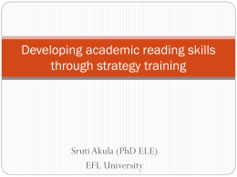 Developing academic reading skills through