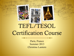 TEFL/TESOL Certification Course