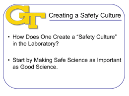 Creating a Safety Culture - Georgia Tech Environmental Health and