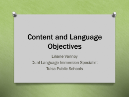 Language Objectives - Curriculum and Instruction