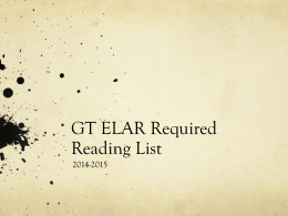 GT Required Reading 2014-2015