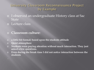 University Classroom Reconnaissance Project EXAMPLE 2