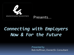 Developing Relationships with Employers