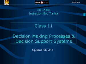 Decision Making Processes and Decision Support Systems (DSS)