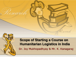 Scope of Starting a Course on Humanitarian Logistics in