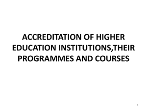 registration of higher education institutions and accreditation of their