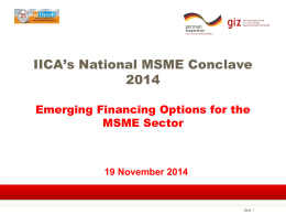 Presentation on Emerging Financing Options for the MSME