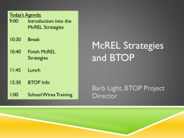 McREL Strategies and BTOP