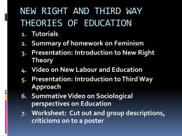 NEW RIGHT AND THIRD WAY THEORIES OF EDUCATION