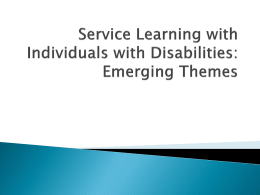 Service Learning with People with Disabilities