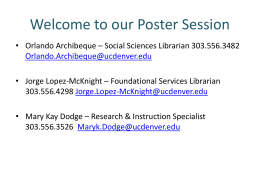 our Poster Session - University of Colorado Denver