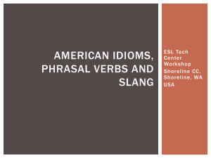 Idioms, Phrasal Verbs and Slang Workshop