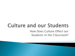 Culture and our Students