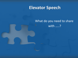 Elevator Speeches - Learning Achievement Coalition