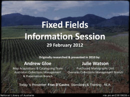 What are the Fixed Fields? - National Library of Australia
