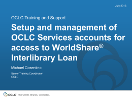 WorldShare ILL Account Management