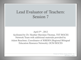 Lead Evaluator of Teachers Session 7 04.05.12
