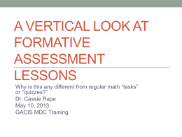 A Vertical Look at Formative Assessment Lessons