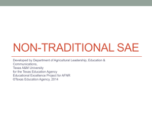 Non-Traditional SAE Lesson PPT