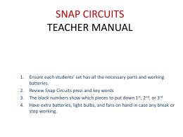 SNAP CIRCUITS Teacher Instructions